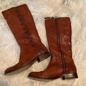 Frye Shoes - Frye Melissa Military Tall Boot Cognac 7